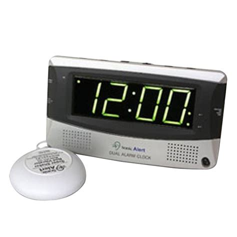 bed shaker alarm sonic alert dual digital alarm clock with bed shaker sa sbd375ss the home depot