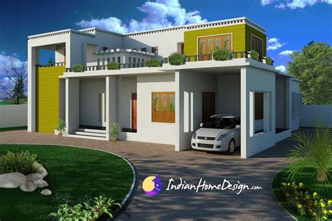 Home Designe by Modern Contemporary Flat Roof Indian Home Design By Shahid