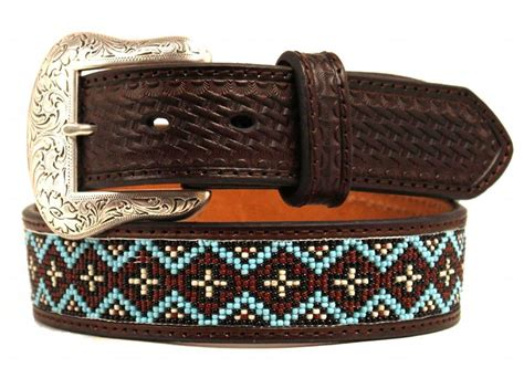 mens beaded belts nocona western mens belt basket beaded inlay embossed