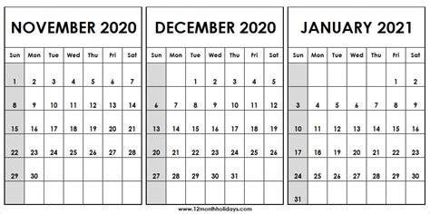 month calendar november december  january    list