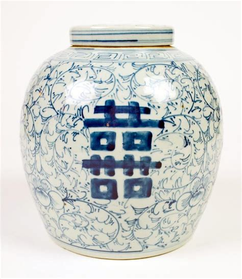 jar ginger chinese blue white vintage ginger jar w lid fl