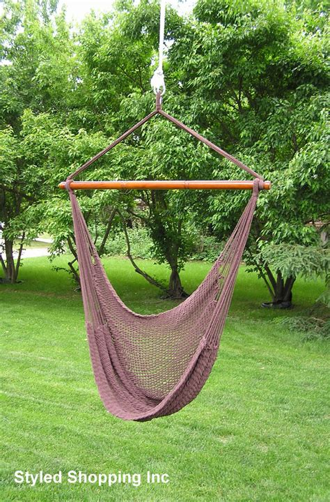 Chair Hammock Swing by Deluxe Extr Large Brown Rope Cotton Hammock Swing Chair Ebay