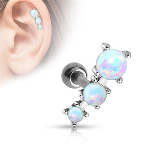 piercing oreille tragus avec 3 pierres de synth 232 se en