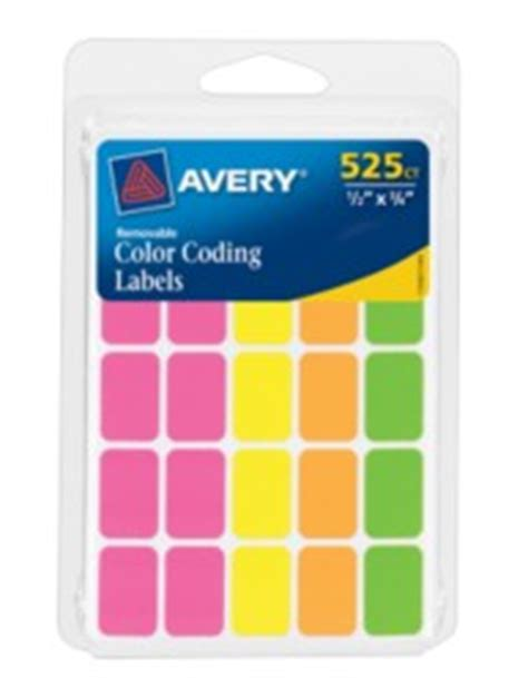 template for avery color coding labels identification labels avery 174 assorted neon removable color