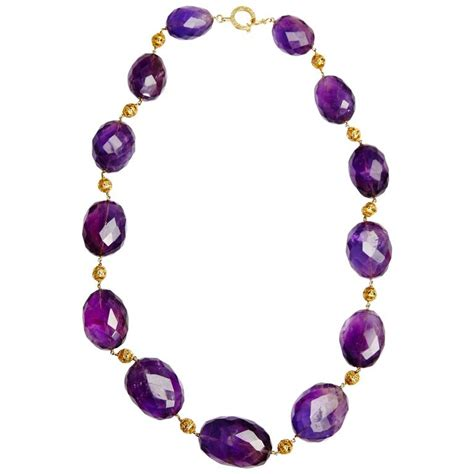 amethyst bead necklace retro amethyst necklace eleuteri
