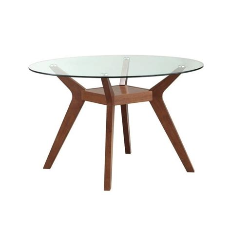 coaster paxton glass top dining table in nutmeg