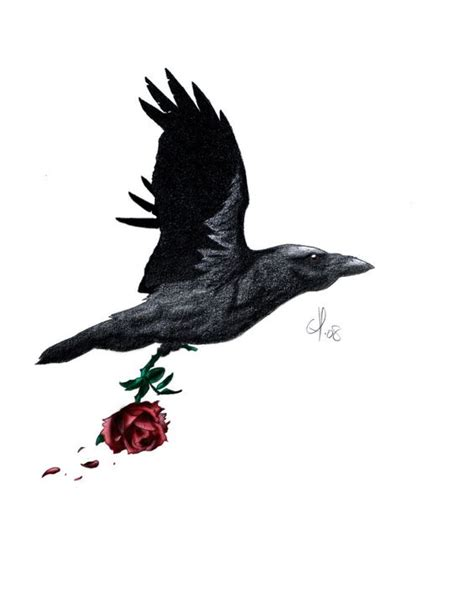 raven with rose tattoo the world s catalog of ideas