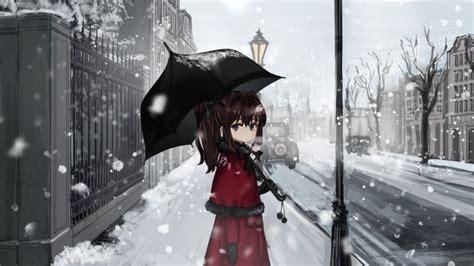wallpaper anime girl snow umbrella wallpapermaiden