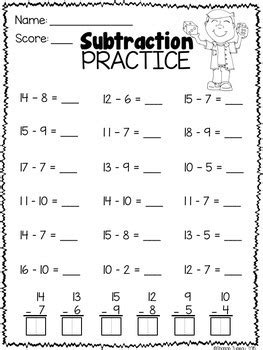 math worksheets st grade subtraction practice tpt