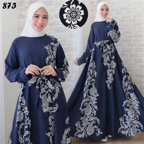Baju Gamis Katun Jepang Ori Model Payung maxi dress motif etnik c873