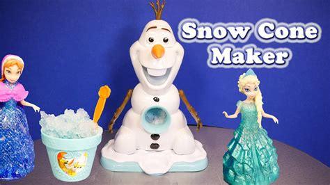 frozen disney olaf snow cone maker  disney queen elsa  frozen toy video youtube