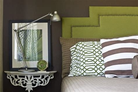 green and brown bedroom walls wall mounted bedside tbale contemporary bedroom