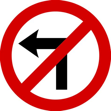 no left file mandatory road sign no left turn svg