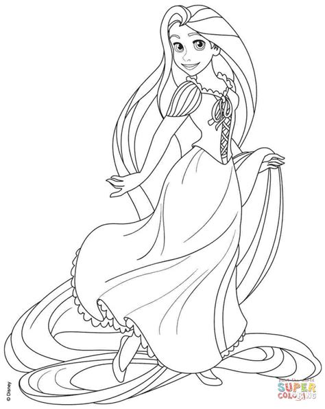Rapunzel From Disney Tangled Coloring Page Free Printable Coloring Pages Tangled Printable Coloring Pages