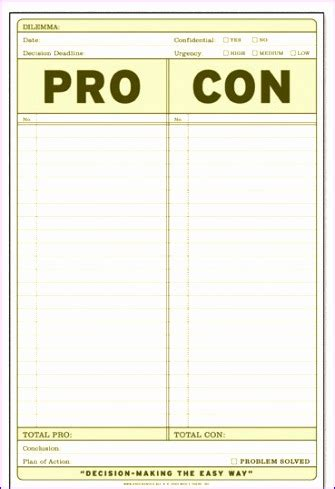 pros and cons list template