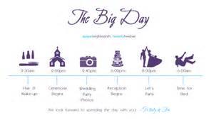 Diy wedding schedule crink s crafts