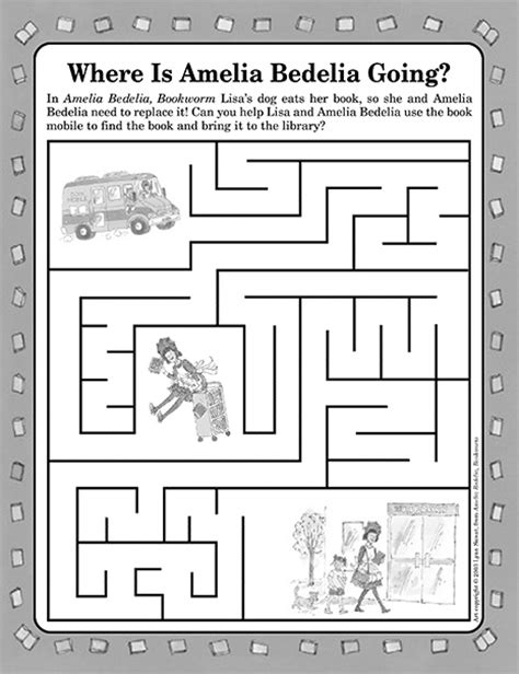 Amelia Bedelia Bookworm Maze | Printable Activities