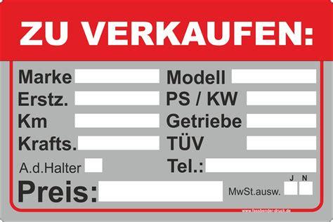 zu verkaufen 30x45cm aufkleber schild auto zu verkaufen pkw kfz ps kw