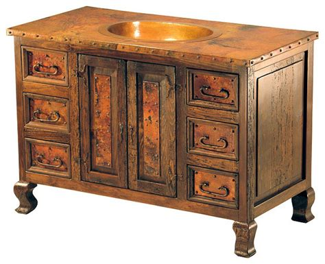 large copper sink vanity rustic bathroom