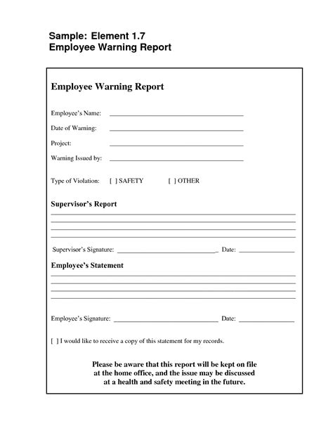 best photos of free printable employee warning letter