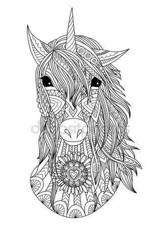 descargar botanical drawing in color libro e descargar zendoodle estilizada cabeza de unicornio ilustraci 243 n de stock 147710315