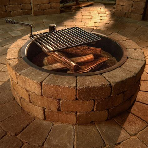 Outdoor Fireplace With Cooking Grill by Improbable Pit Wood Grate Garden Landscape