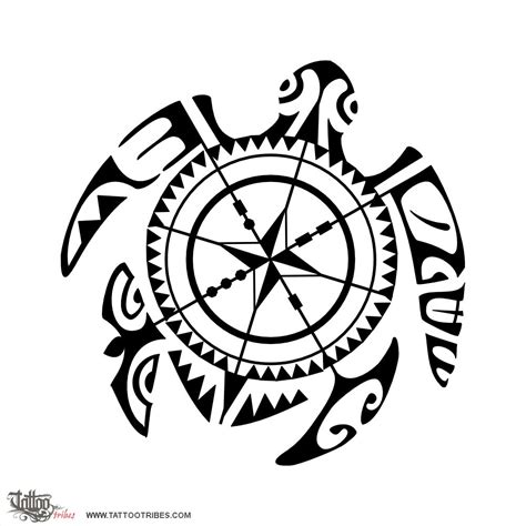tribal compass tattoo designs of compass turtle direction custom