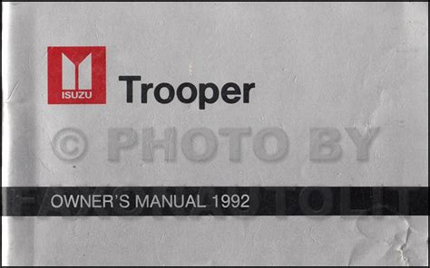 1996 isuzu trooper repair shop manual original 1992 isuzu trooper repair shop manual original