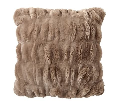 Faux Fur Pillow by Ruched Faux Fur Pillow Cover Taupe Pottery Barn