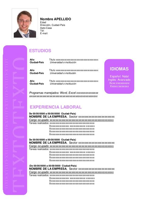 Modelo Hoja Curricular Curriculum Vitae Formato Para Llenar 2016 New Style For 2016 2017