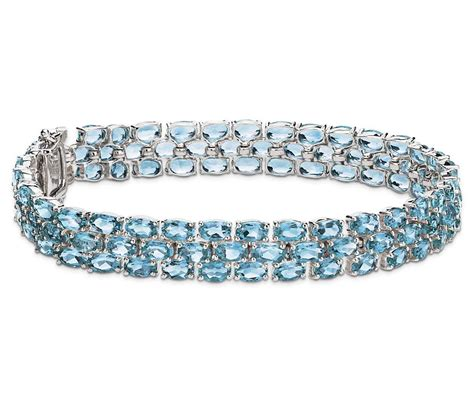 Blue Bracelet trio oval blue topaz bracelet in sterling silver 5x3mm
