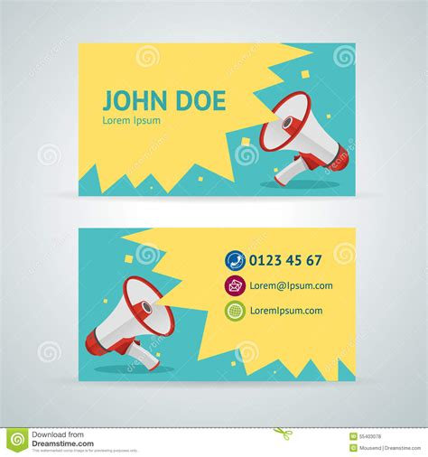 promotion card template vector megaphone business card template stock vector