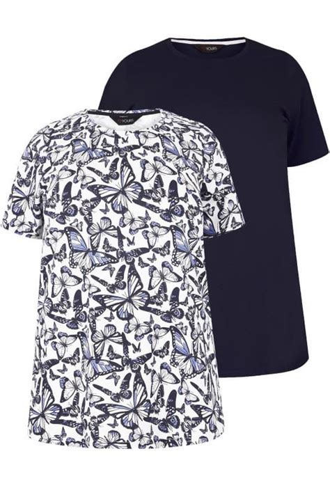 Android Sketch Raglan 2 pack navy butterfly printed plain t shirts plus size