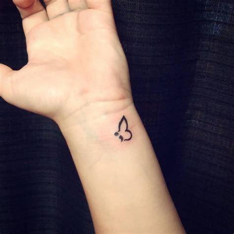 semicolon tattoo on wrist unique black ink semicolon on wrist