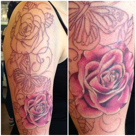 black butterfly and pink rose tattoo tattoomagz