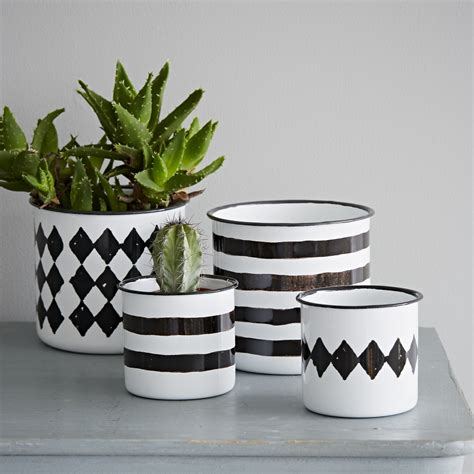 White Plant Containers Black And White Enamel Pot