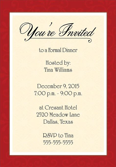 invitation to template dinner invitation template free places to visit