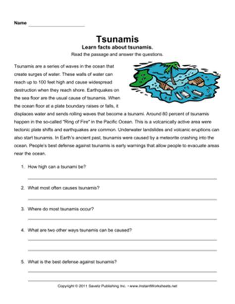 tsunami comprehension instant worksheets