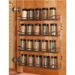 steel wire door mount spice racks in chrome and chagne
