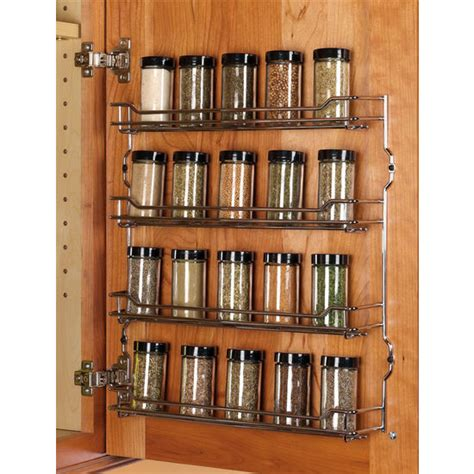 spice rack kitchen cabinet steel wire door mount spice racks in chrome and chagne
