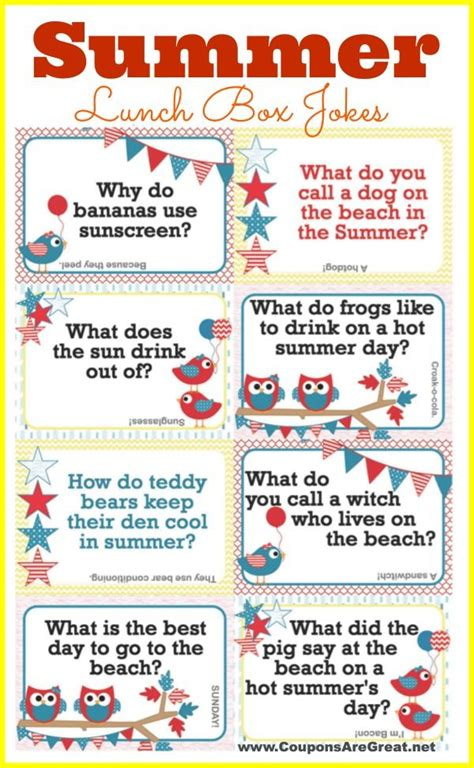 printable bad jokes add these free printable summer lunch box jokes to your