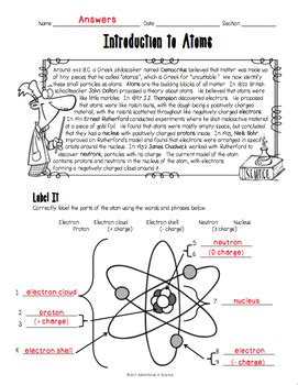 History Of The Atom Worksheet Answers by Introduction To Atoms Worksheet By Adventures In Science Tpt
