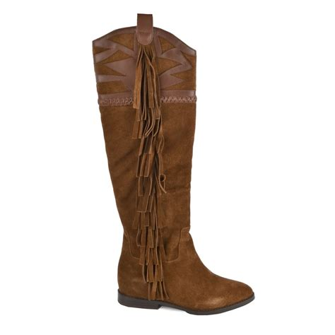 shop knee high boots at ash jezabel boots in brown suede