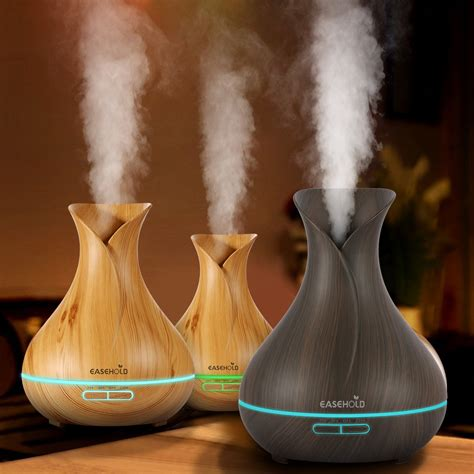 Aroma Therapy Air Humidifier Wood Flower easehold 400ml aroma essential diffuser ultrasonic air humidifier with wood grain 7color