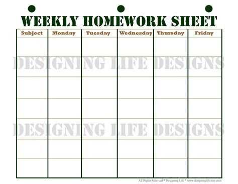 printable homework schedule printable weekly student planner template calendar