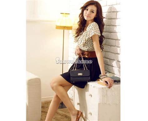 Black Backless Mini Dress Baju Wanita Korea Import Rok Lengan Panjang fashion korean womens clothing leaf sleeve waist polka dot