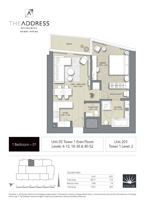 House Layout By Address | the address residence dubai opera tower 1 floor plans