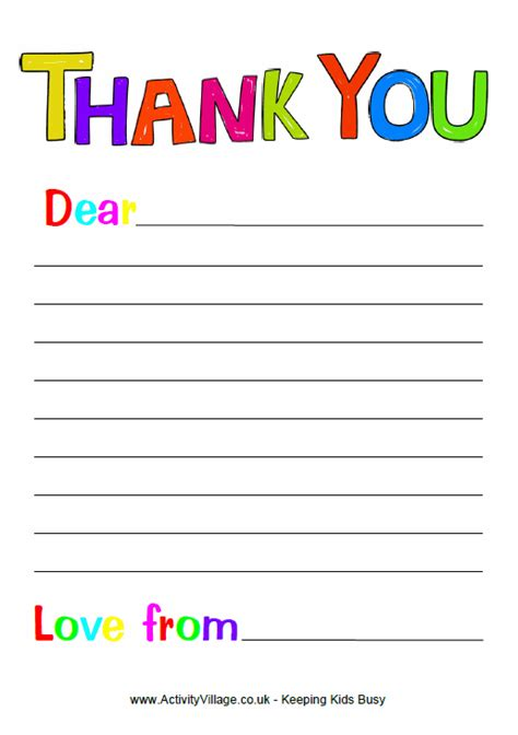 thank you card template with lines to add to our writing center writing letter to