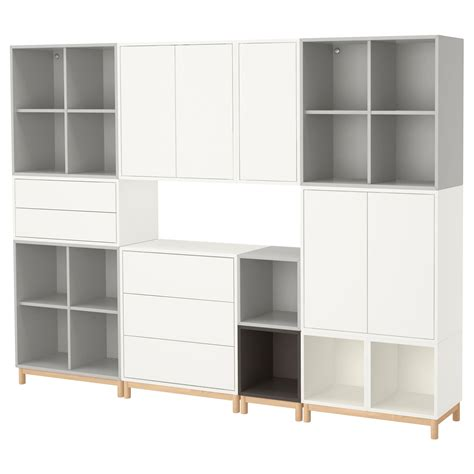 besta eket eket cabinet combination with legs white light grey
