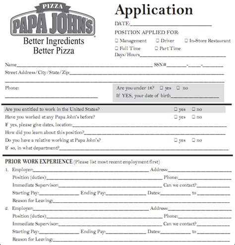 printable job application for cici s pizza 11 applications for jobs texas tech rehab counseling